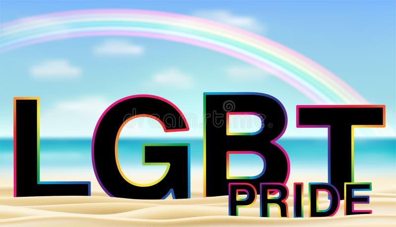 LGBT-Stolz auf Meersandstrand mit Regenbogen vektor abbildung