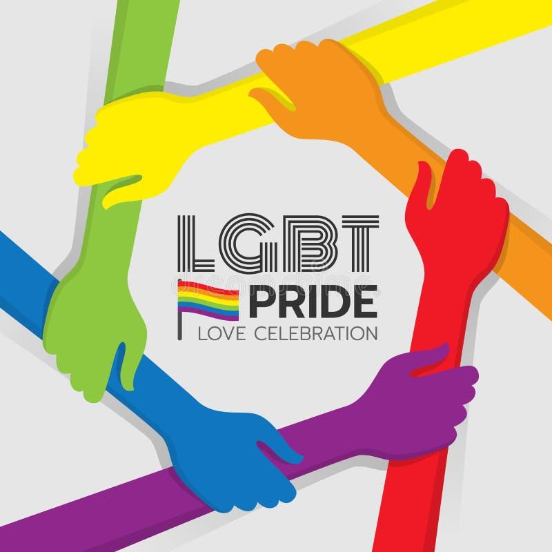 LGBT-Stolzfahne mit der bunten Handgriffhand um Kreisrahmen und Regenbogenflaggenvektorentwurf vektor abbildung