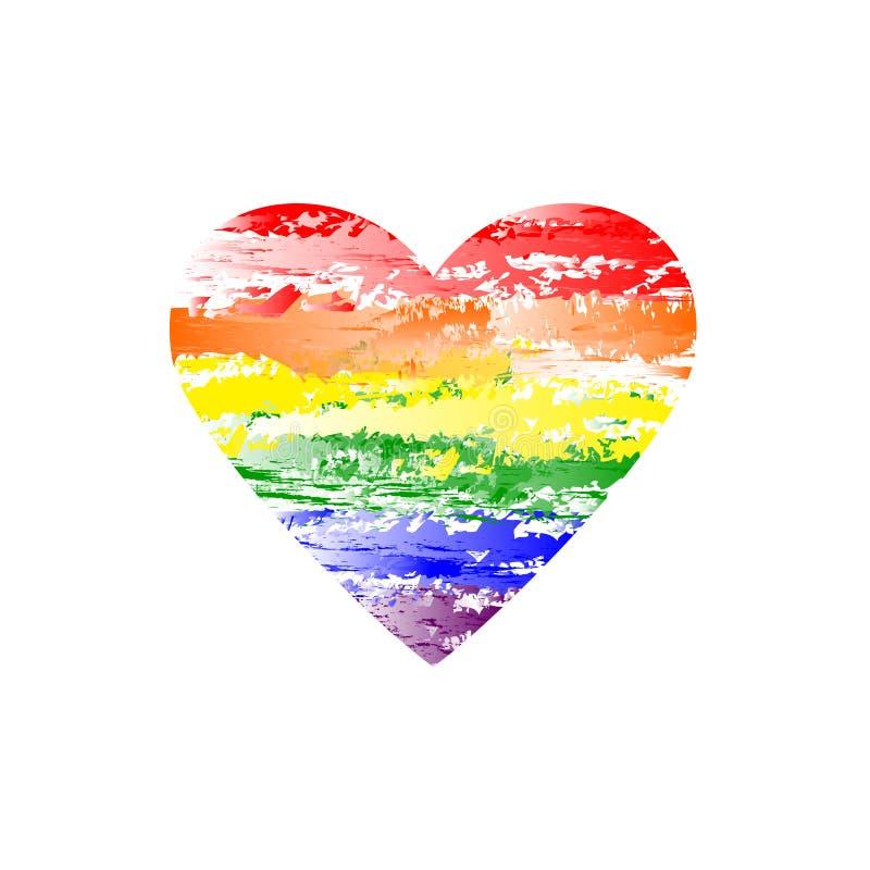 Lgbt vektorhjärta regnbågevattenfärgbild brokig form röda orange gula gröna blåa violetta färger white för symbol för bakgrundsfö vektor illustrationer