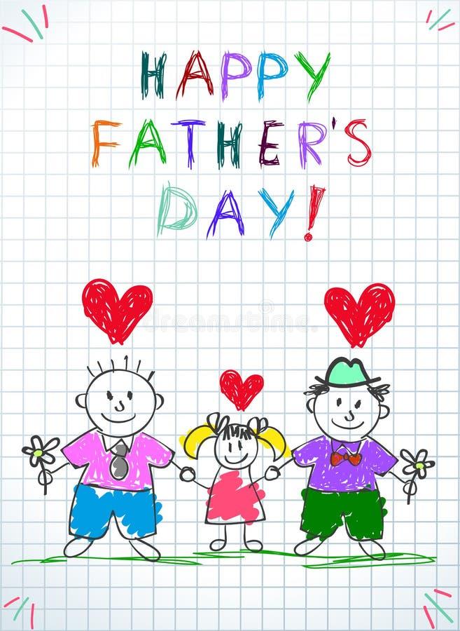 Lgbtfamilie Gelukkige Vader Day Children Drawing vector illustratie