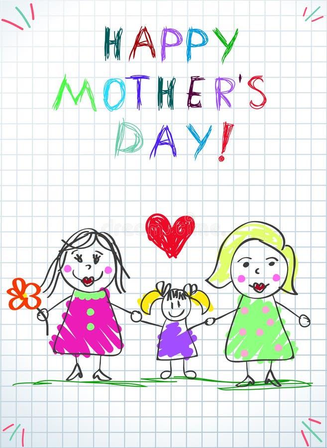 Lgbtfamilie Het gelukkige de Kinderen van de Moedersdag Trekken vector illustratie