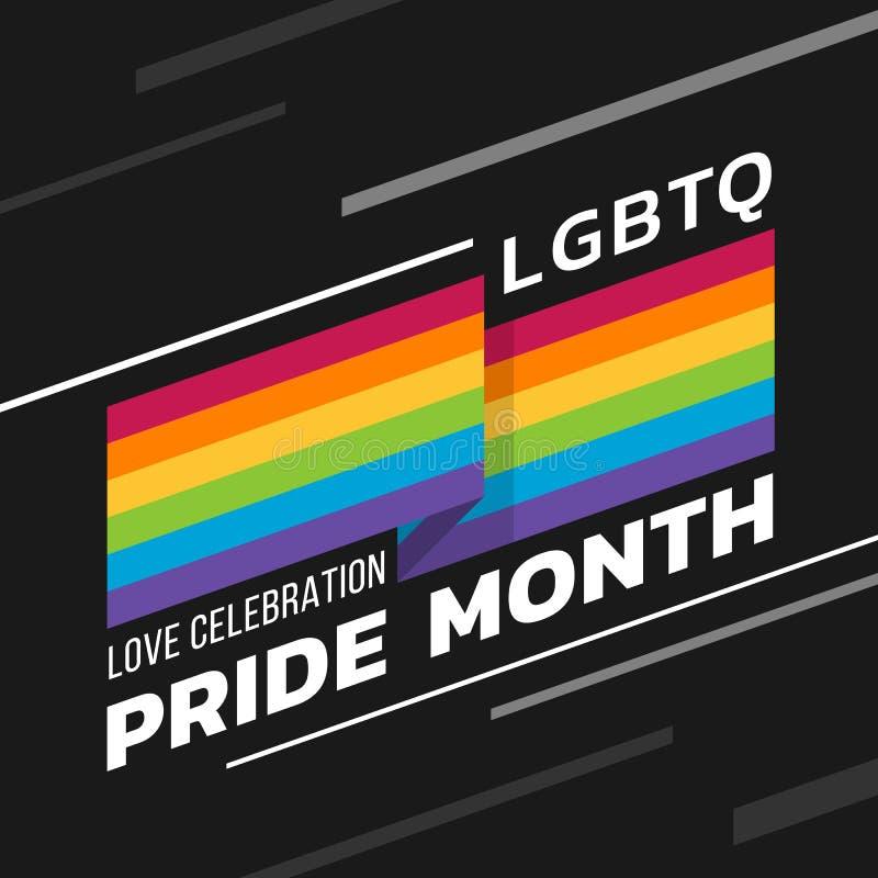 LGBTQ-de trotsmaand van de liefdeviering met de strepen die van de regenboogvlag scherpe hoeken en teksten op donker vectorontwer vector illustratie