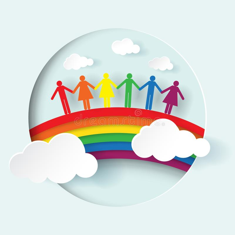 `LGBTQ+`  people and rainbow paper cut vector stock illustration