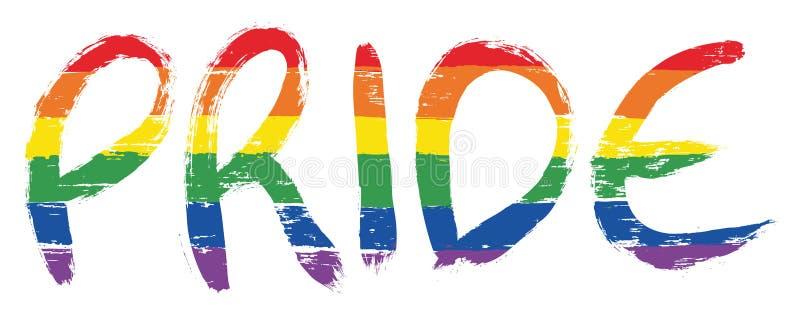 LGBTQ Pride Letters Vector Hand Painted mit gerundeter Bürste lizenzfreie abbildung