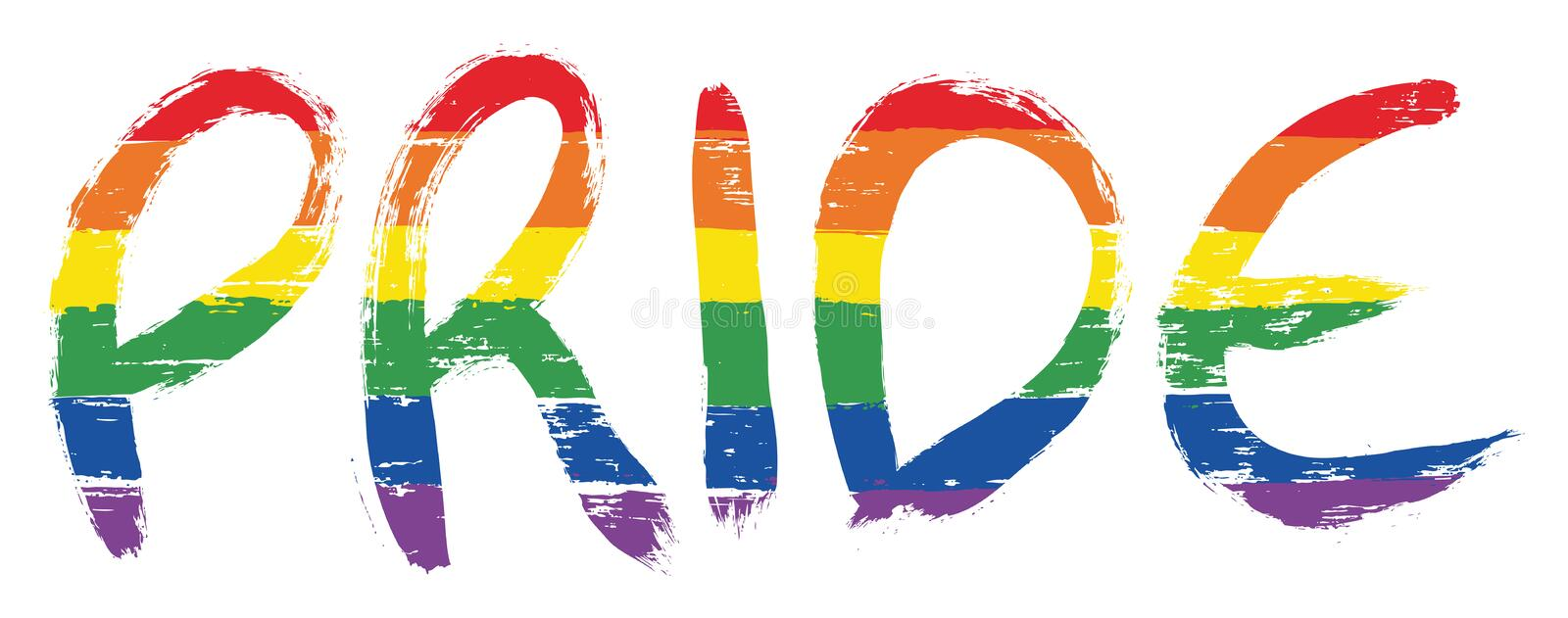 LGBTQ Pride Letters Vector Hand Painted with Rounded Brush royalty free illustration