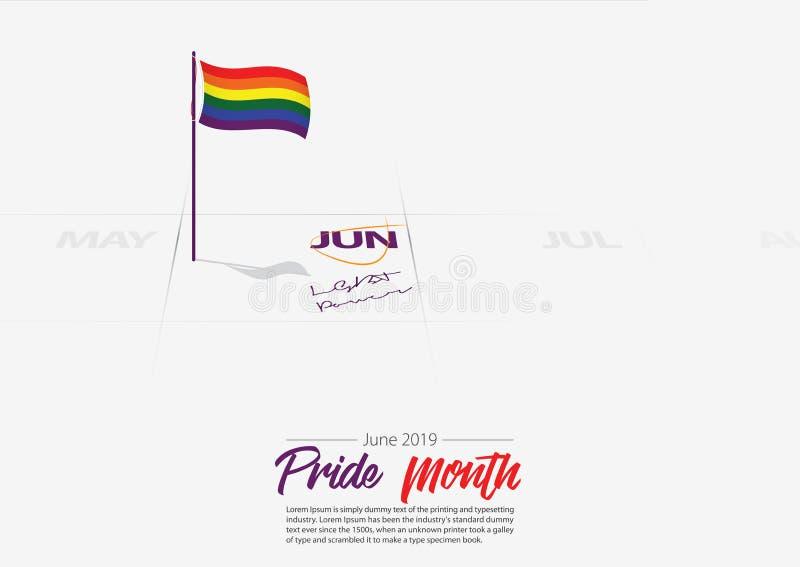 LGBTQ Pride Month di giugno Bandiera di LGBTQ sull'inizio di Pride Month della data segnato calendario calendario giugno 2019 Con royalty illustrazione gratis