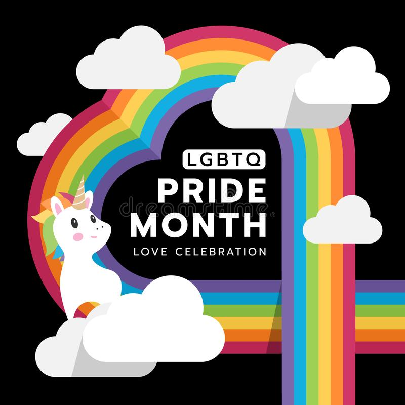 LGBTQ Pride month and love celebration with heart rainbow clode and unicorn on black background vector design vector illustration