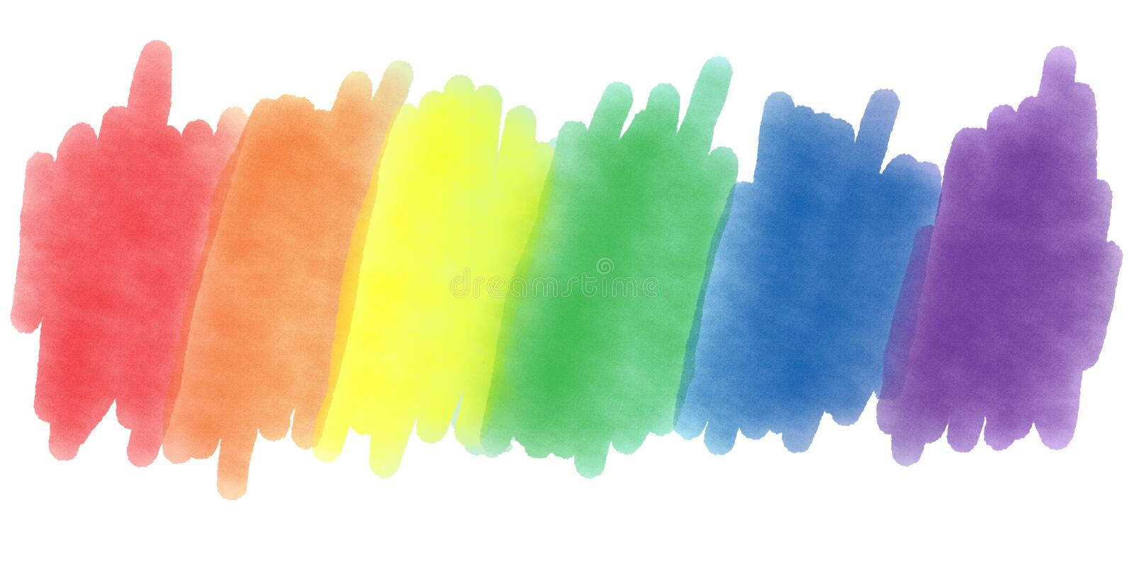 LGBTQ Pride Watercolors. LGBTQ+ pride colors painted with watercolors over white background stock photos
