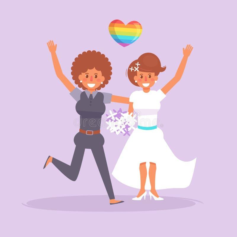 LGBTQ que se casa lesbiano libre illustration