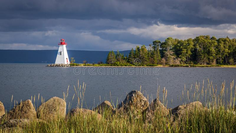 Lghthouse in Nova Scotia. Beautiful view of a small lighthouse in Nova Scotia, Canada. For centuries Nova Scotia's lighthouses have protect peaple at sea. They royalty free stock photos