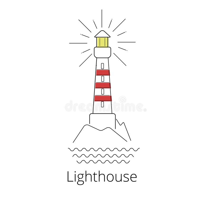 Lghthouse vector illustration. Navigation structure line art. Naval building logo or icon royalty free illustration