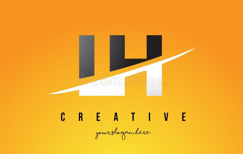 LH L letra Logo Design moderno de H con el fondo amarillo y Swoo libre illustration
