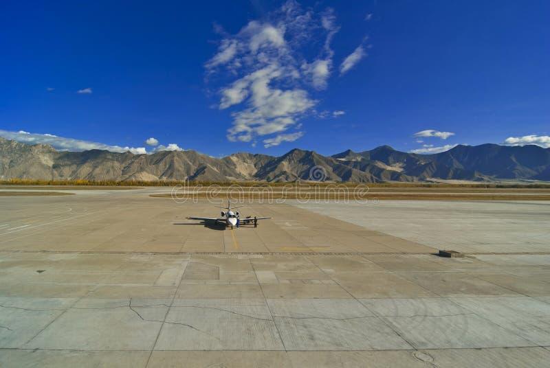Lhasa airport Tibet stock photo
