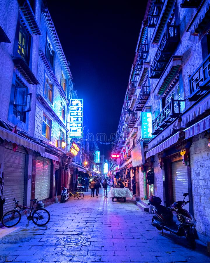Lhasa bt night stock images