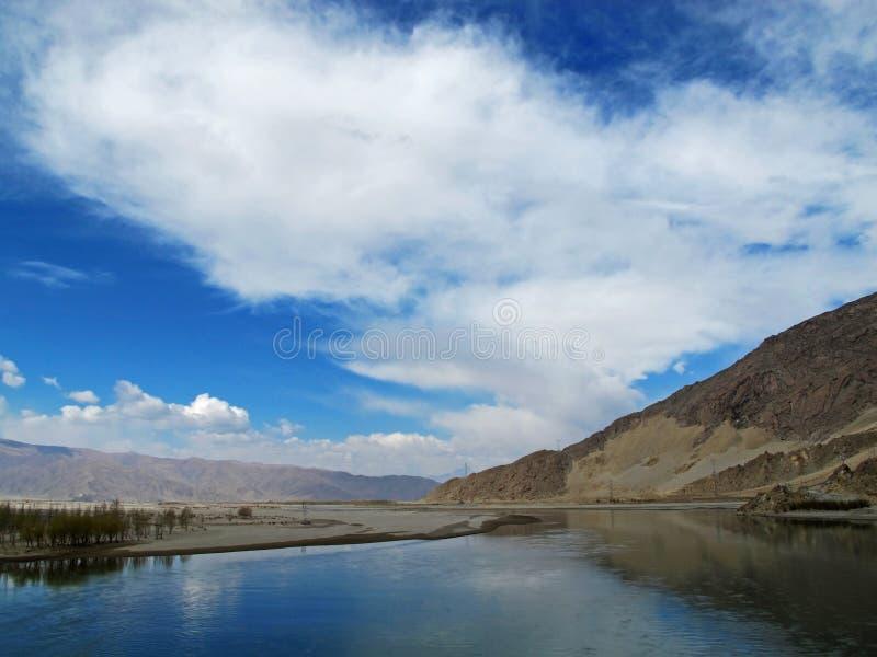 Lhasa River in Tibet stock photo