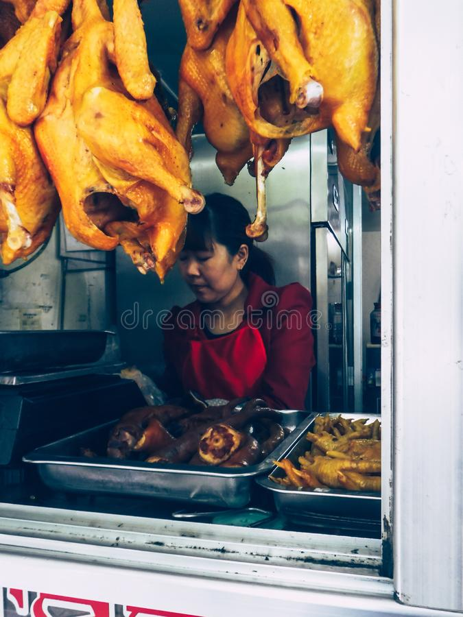 Local restaurant in downtown of Tibet. stock photos