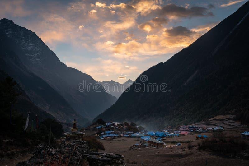 Lho village in Manaslu circuit trek, Himalayas mountain, Nepal. Asia royalty free stock photography