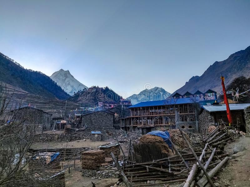 Lho village of Manaslu Conservation Area. In Nepal. Mount Manaslu on the left side is the 8th largest mountain in the world stock images