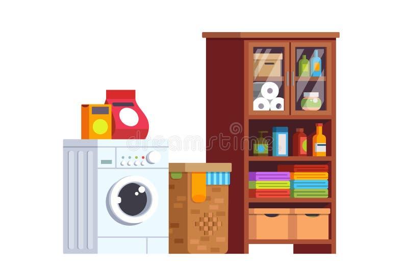 LHome与洗衣机的洗衣房内部 库存例证