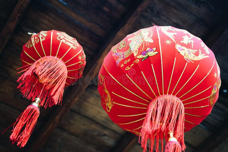 Lhong 1919年,传统红色lampions 库存图片