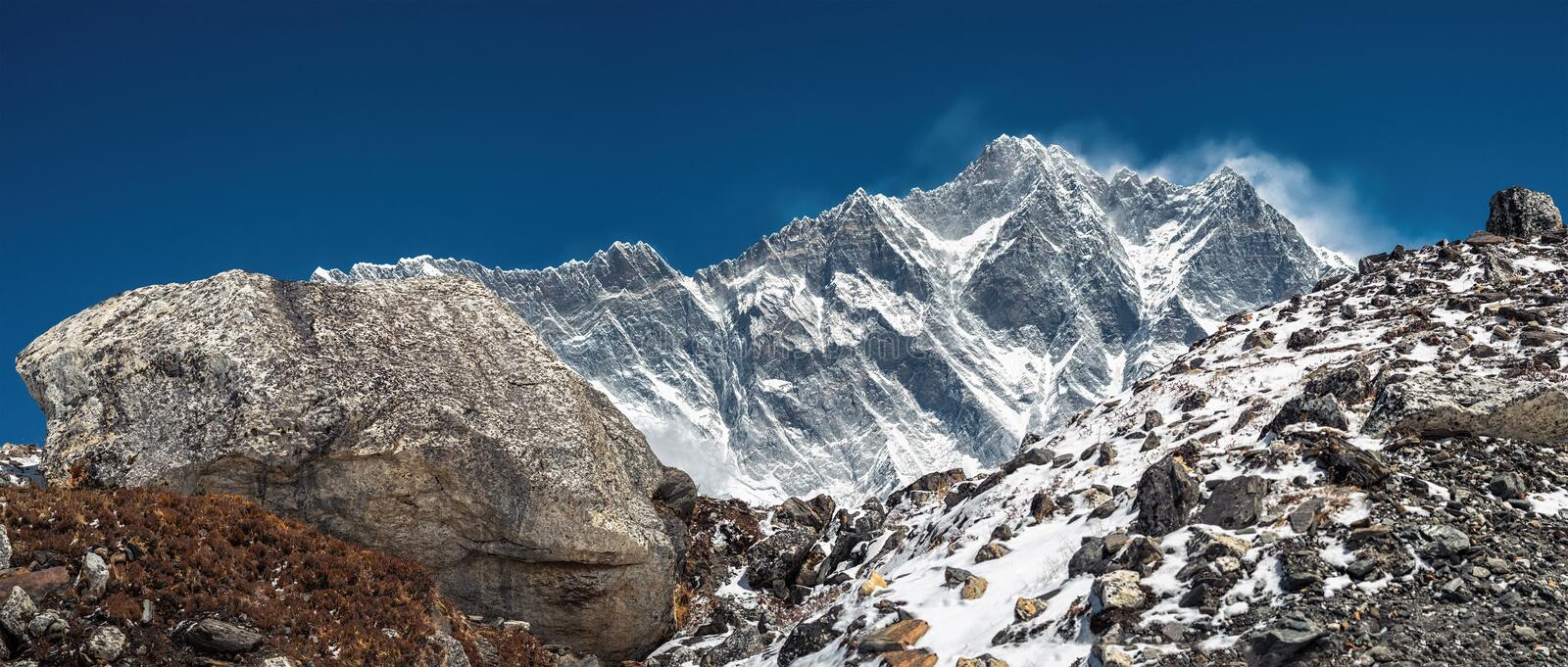 Lhotse is fourth highest mountain in world at 8,516m27,940 ft.Himalaya, Nepal royalty free stock image