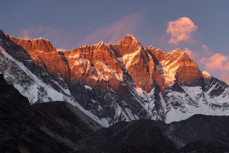 Lhotse mountain peak, fouth highest peak in the world in Himalaya mountain range, Everest region, Nepal royalty free stock images