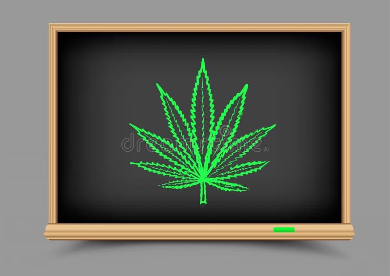 Lição da droga do cânhamo do quadro-negro ilustração royalty free