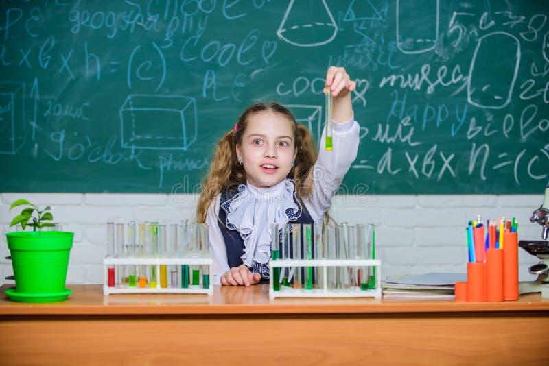 Lição da escola Aproximação interessante a aprender Jogo bonito do aluno da escola da menina com tubos de ensaio e líquidos color imagem de stock
