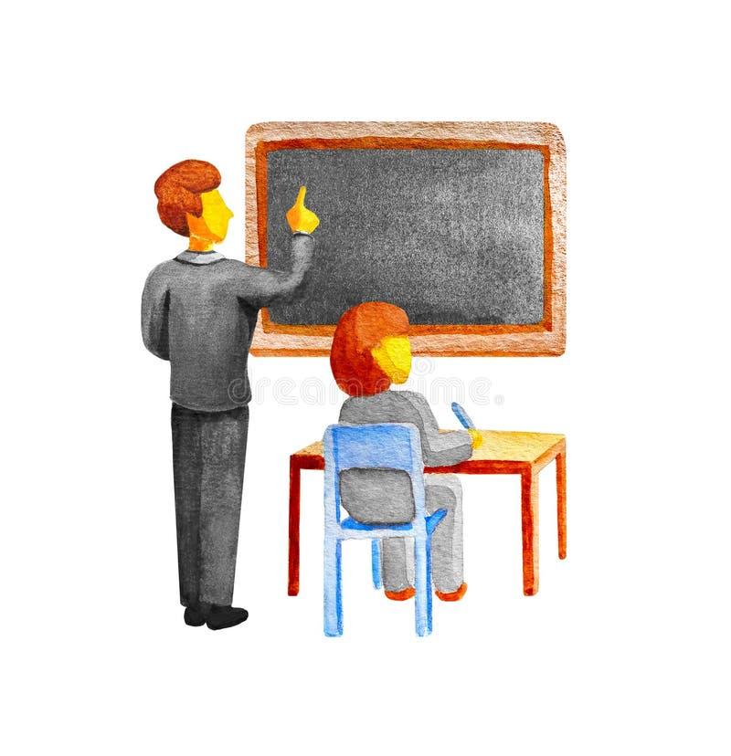 Lição da escola na sala de aula O professor mostra um quadro-negro A menina do estudante senta-se na tabela em uma cadeira e escr ilustração stock