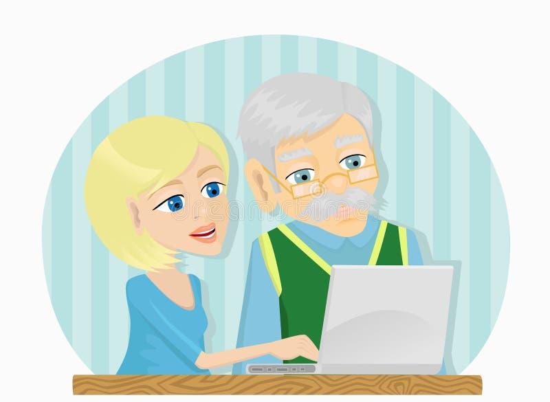 Lição de computador ilustração royalty free