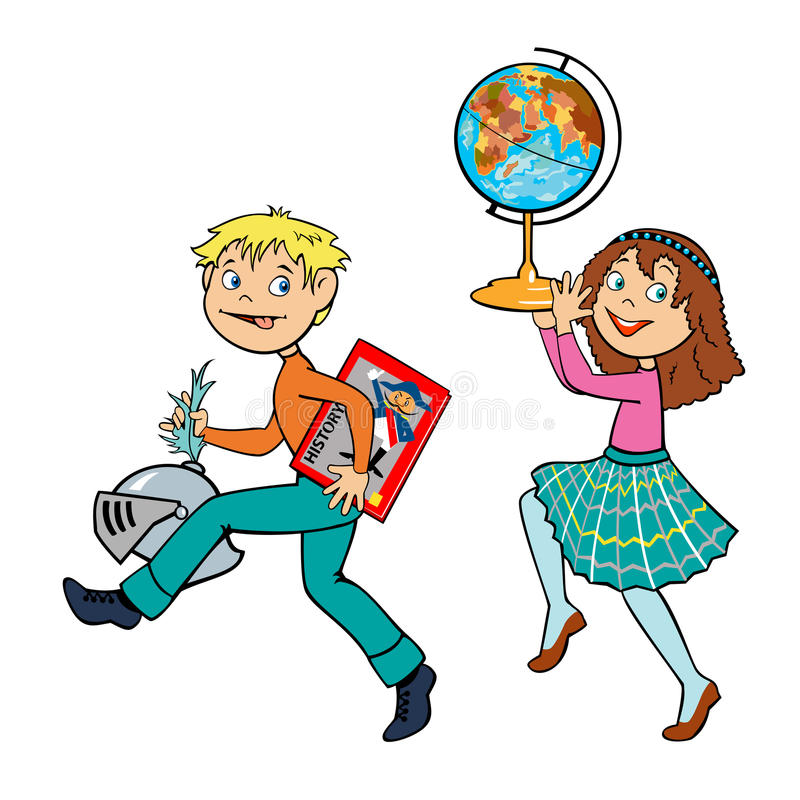 Download Lição Histórica Do Menino E Da Menina Ilustração do Vetor - Ilustração de ilustração, afortunado: 26501502