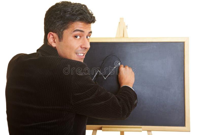 Lições com um quadro-negro imagens de stock