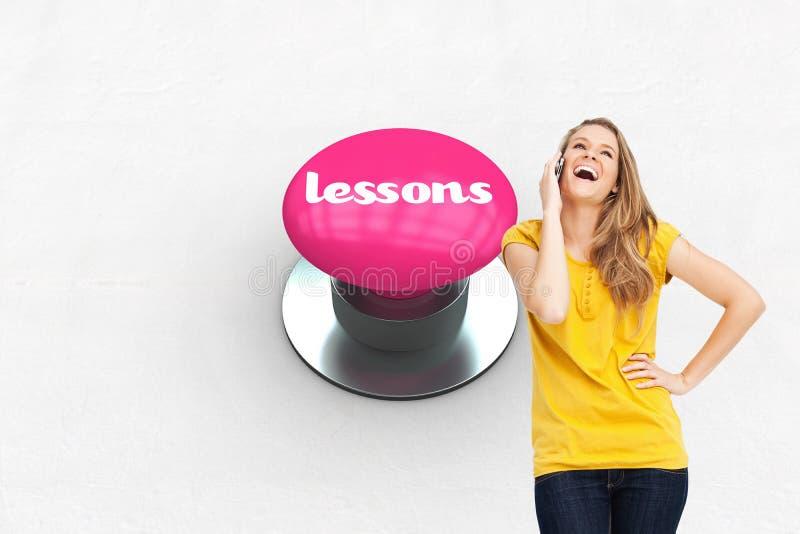 Lições contra a tecla cor-de-rosa fotografia de stock
