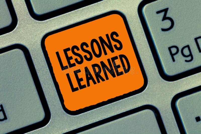 Lições da escrita do texto da escrita instruídas O significado do conceito promove a parte e usa o conhecimento derivado por expe imagem de stock royalty free