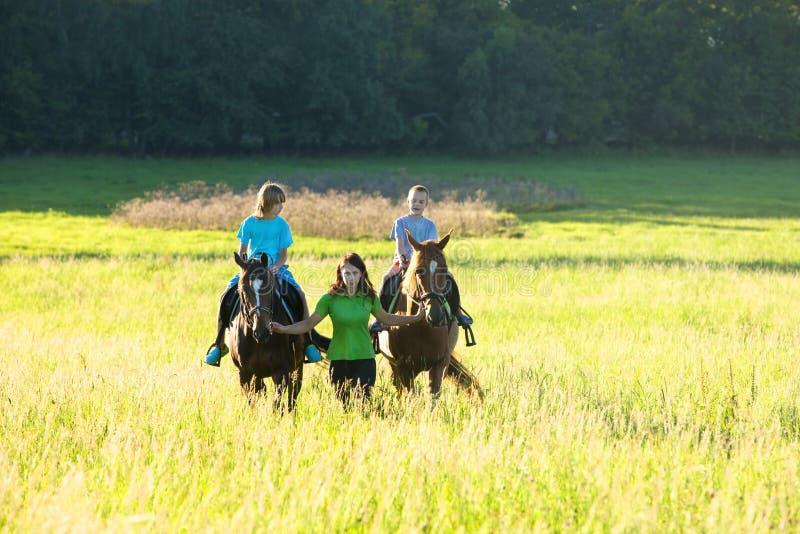 Lições de equitação fotografia de stock