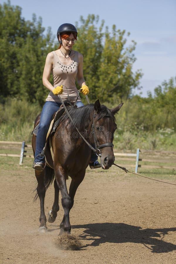 Lições de equitação - jovem mulher que monta um cavalo, vertical imagens de stock royalty free