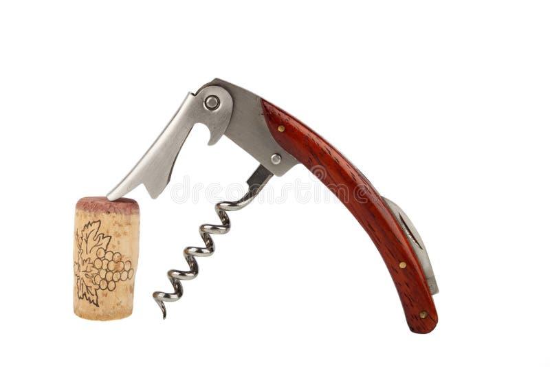 Liège de tire-bouchon et de vin images libres de droits