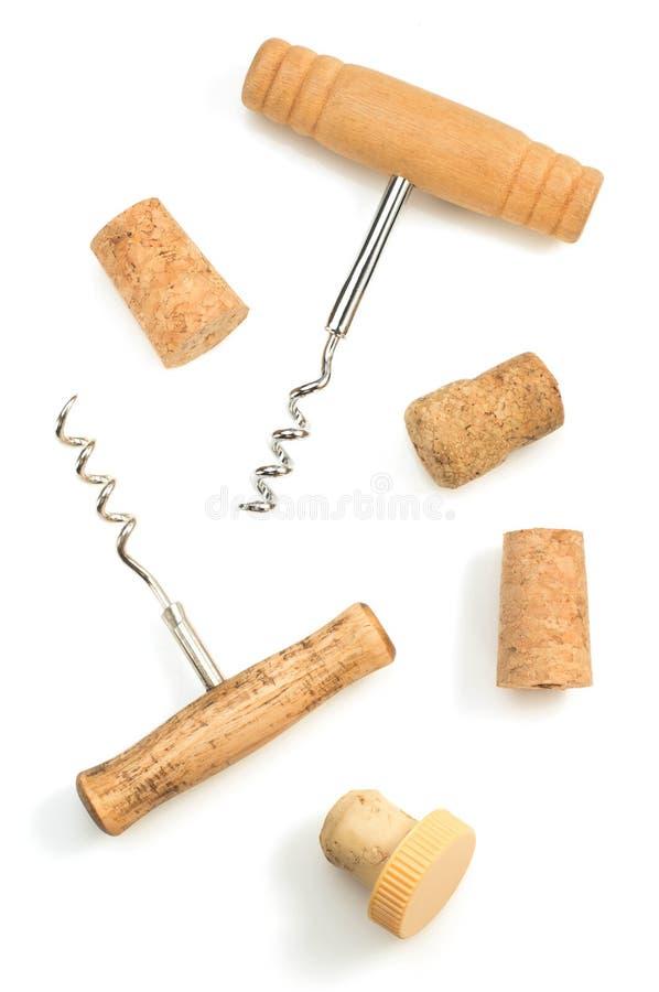 Liège de tire-bouchon et de vin sur le blanc image stock