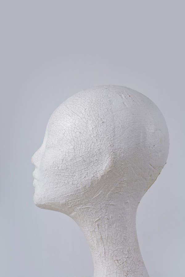 Liège principal de mannequin femelle dans le profil sur le fond gris photographie stock