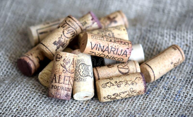 Lièges de bouteille de vin photo stock