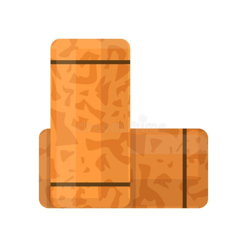 Lièges de vin de Brown d'isolement sur le fond blanc Icône en bois de prise de liège dans le style plat illustration stock