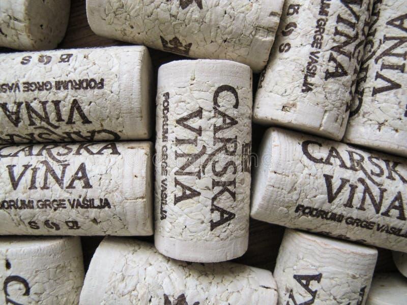 Lièges Vina Carska de vin image stock