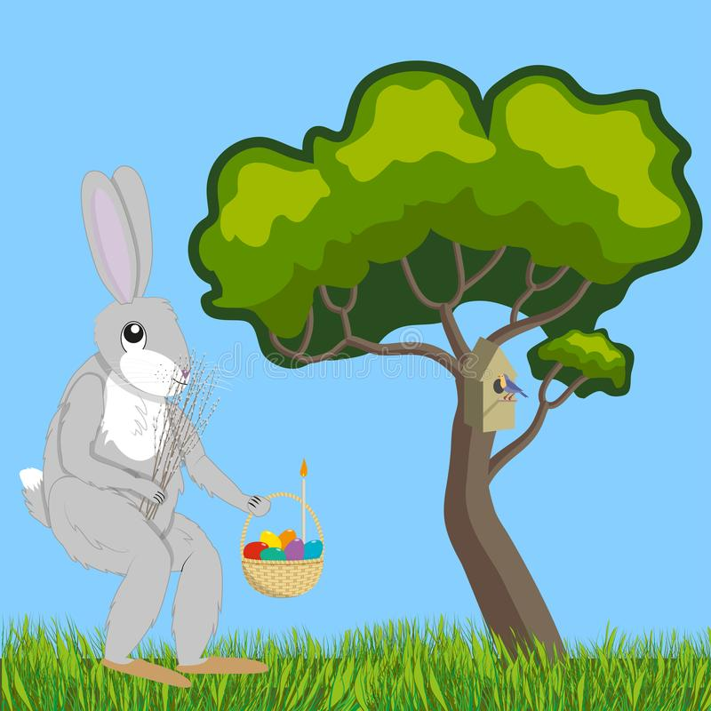 Lièvres avec le saule et le panier de Pâques illustration libre de droits