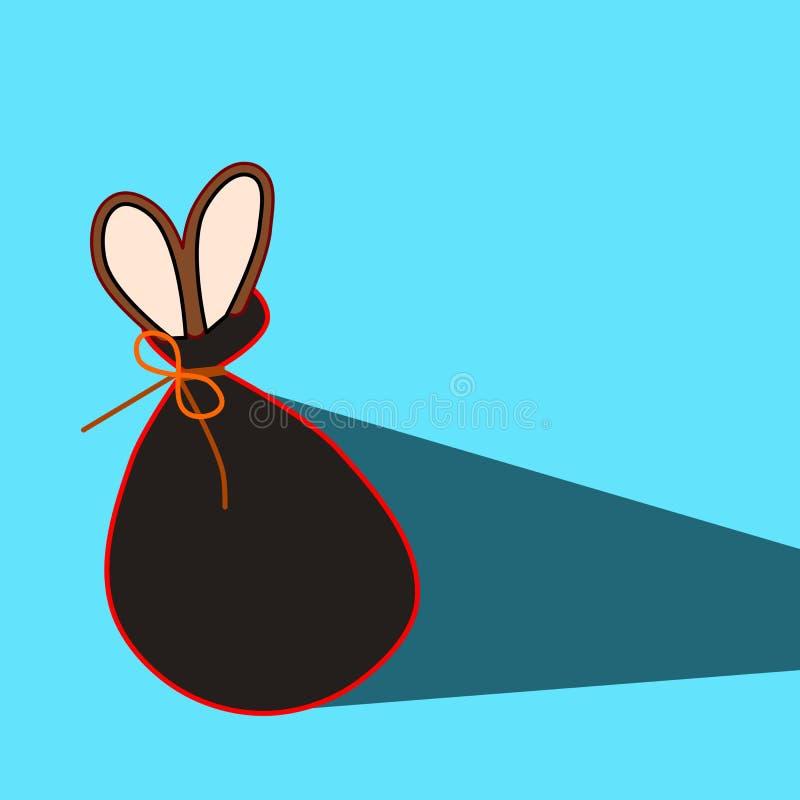 Lièvres dans un sac Les longues oreilles d'un certain animal ont sauté hors du sac illustration stock