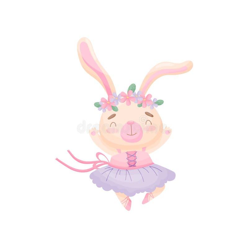 Lièvres de bande dessinée dans une robe d'une ballerine Illustration de vecteur sur le fond blanc illustration libre de droits