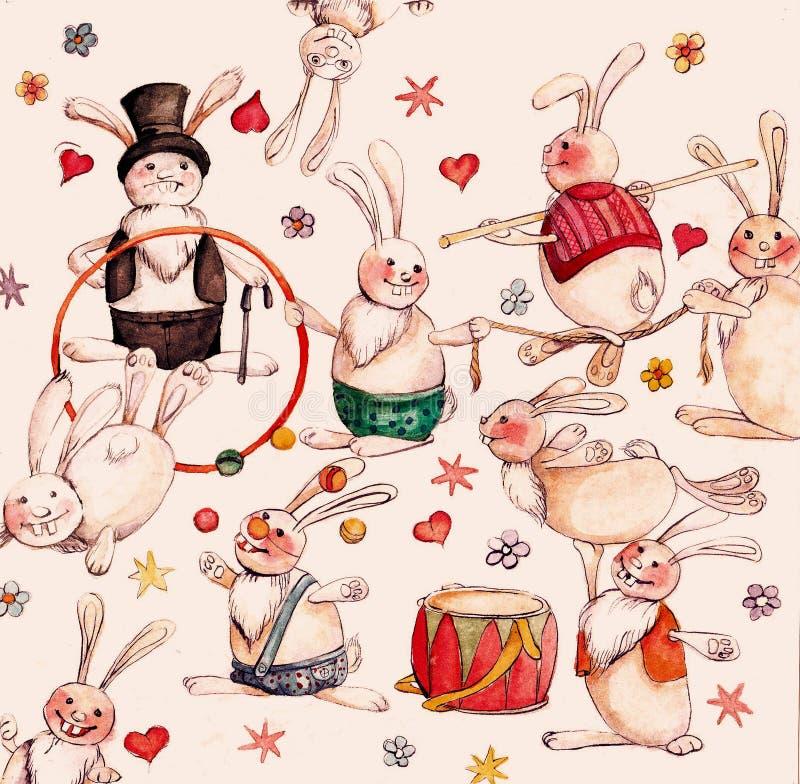 Lièvres de cirque illustration de vecteur