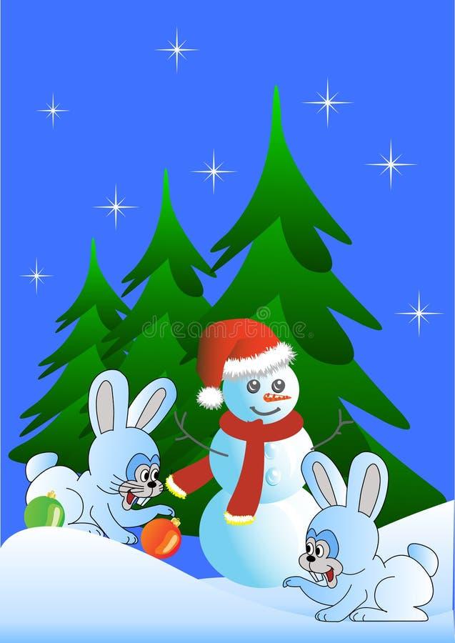 Lièvres et bonhomme de neige (version) illustration stock