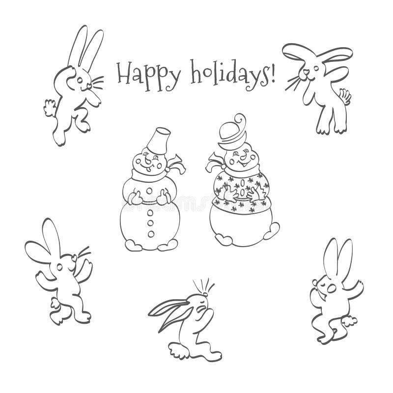Lièvres et bonhommes de neige de bande dessinée illustration stock