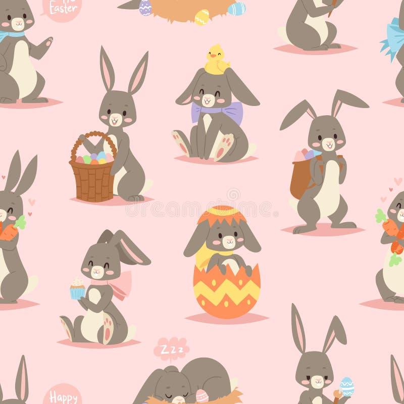Lièvres mammifères gais d'art de vacances de personnage de dessin animé adorable heureux de lapin avec le panier et lapin de Pâqu illustration stock