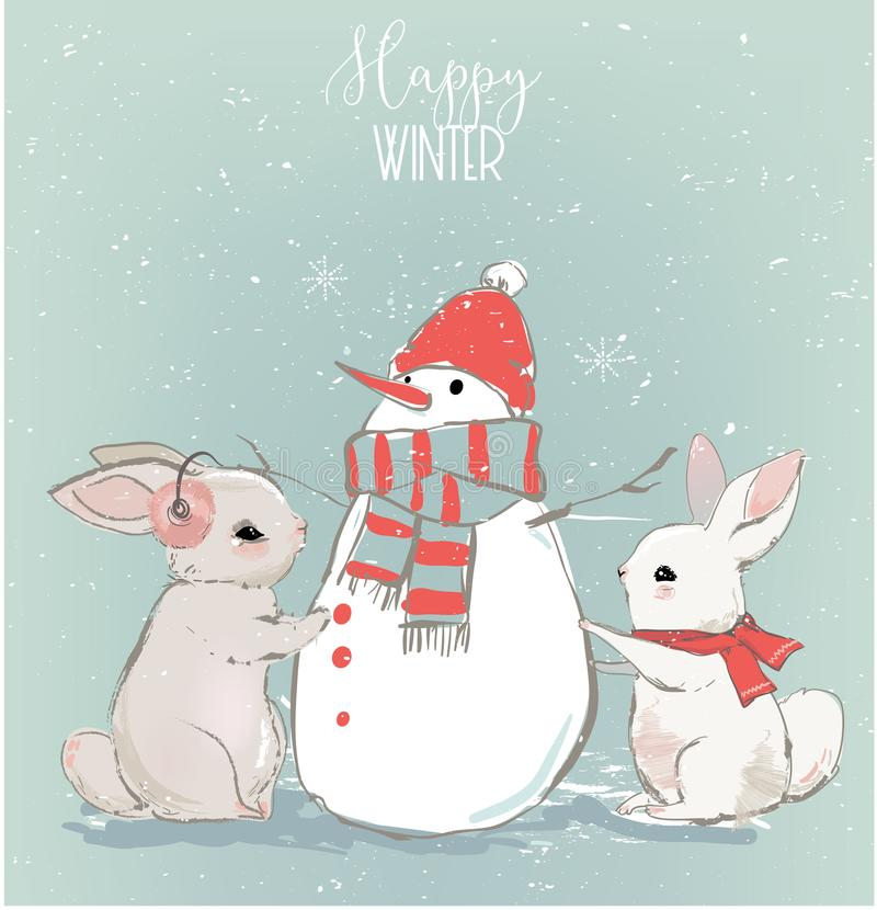 Lièvres mignons avec le bonhomme de neige illustration libre de droits